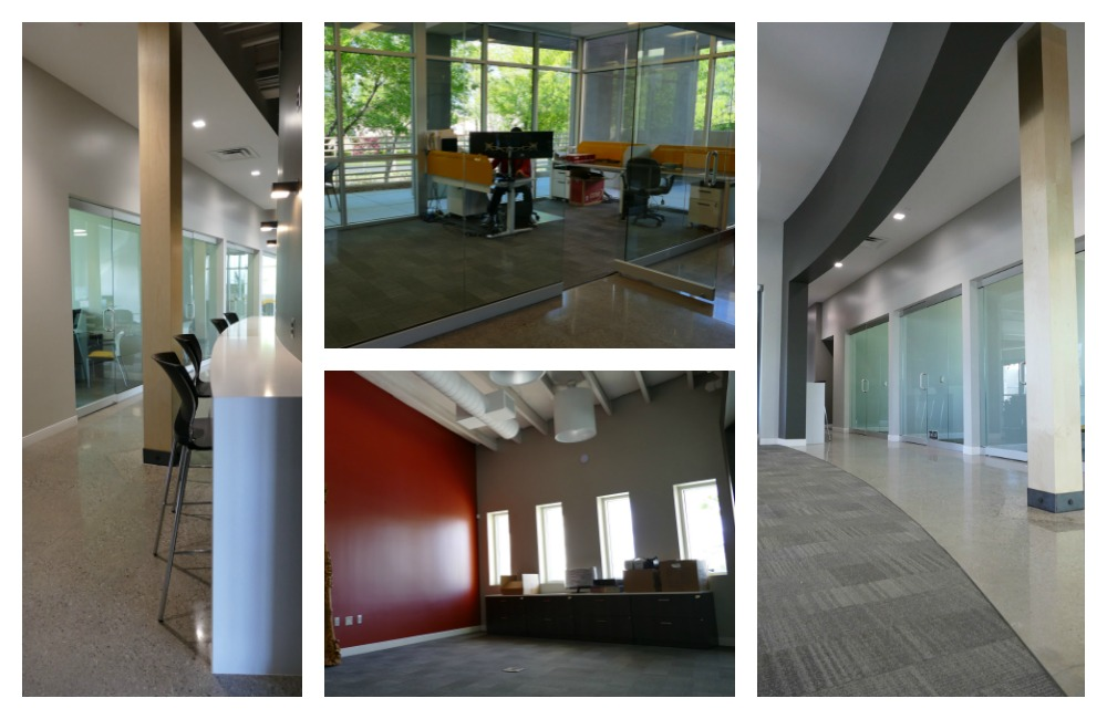 From left to right: The hallway from the front lobby to the offices and open workspace, the software development team office, the room to home special projects, and the open hallway between the open workspace and the executive offices.