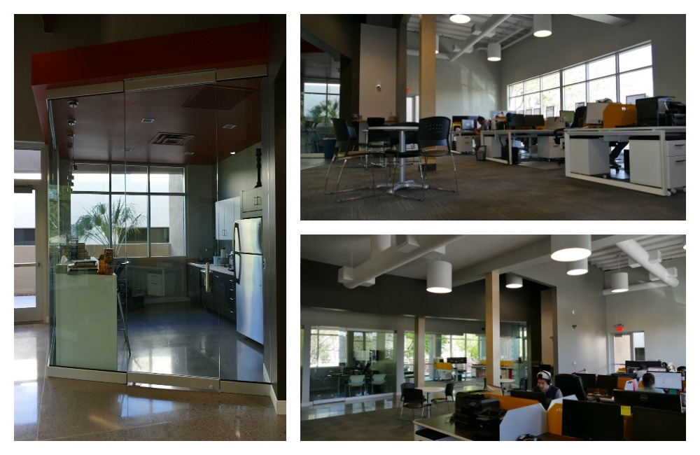 The Bravo Breakroom on the left, and the large open workspace that houses our Sales, Marketing, and Support teams.