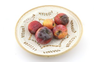 Rotten apples on plate, damaged fruits, unhealthy